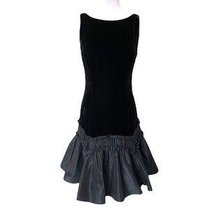 Liancarlo Couture Black Velvet Silk Taffeta Gown